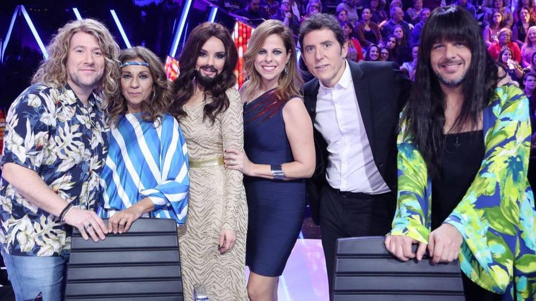 El jurado de 'Tu cara me suena', en la gala especial de Eurovisión. (Antena 3)