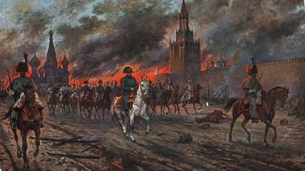 Foto: Napoleón con sus tropas en una Moscú en llamas, óleo sobre lienzo de Viktor Mazurovsky.