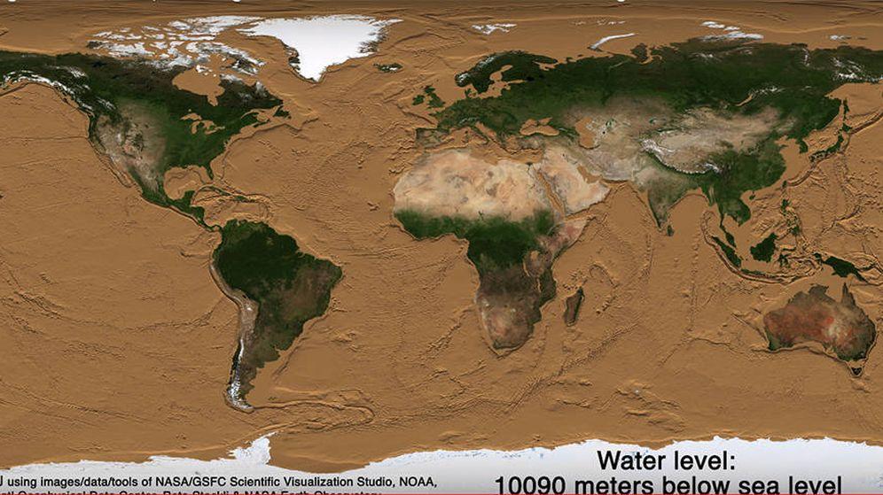 Foto: Así quedaría la Tierra sin gran parte de sus océanos. Foto: Youtube