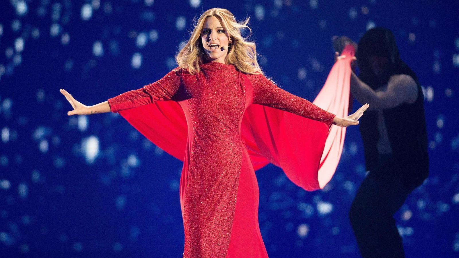 Foto: La cantante Edurne, en un ensayo previo a la gala final de Eurovisión 2015. (Efe)