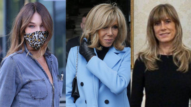 Carla Bruni, Brigitte Macron y Begoña Gómez. (Cordon Press / Twitter @sanchezcastejon)