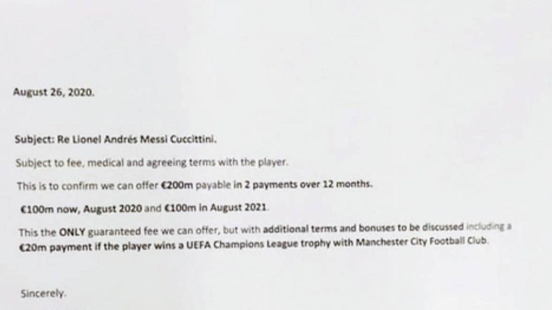 La oferta que envió el City al Barcelona y que publica 'L'Illustré'.