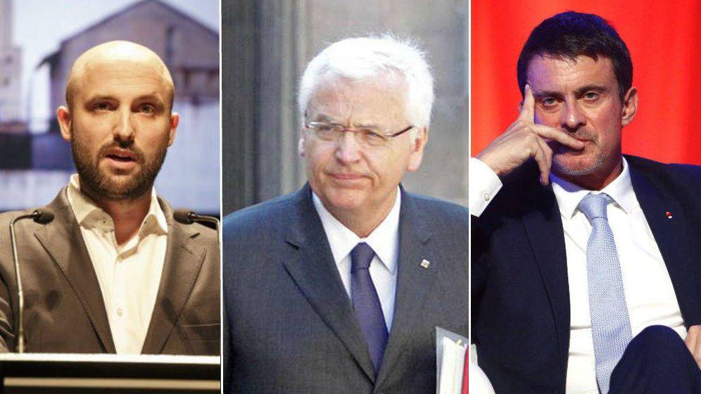Foto: Montaje de El Confidencial de Jordi Graupera, Ferran Mascarell y Manuel Valls.