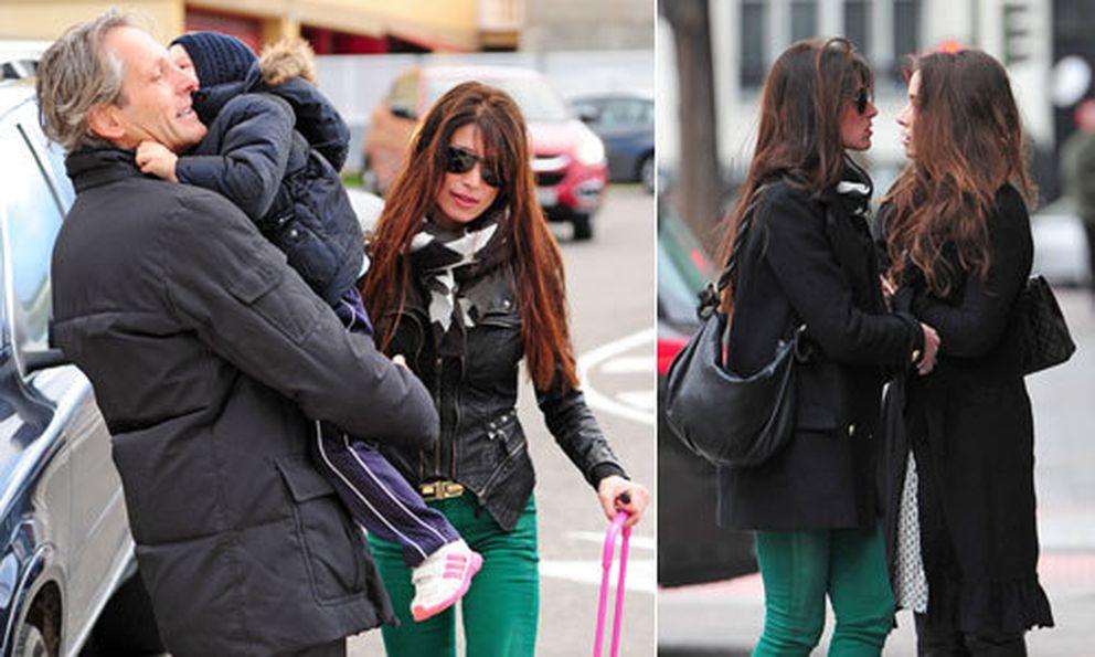A la izquiera, Sonia Ferrer junto a su marido Marco Vricella y su hija Laura. Y a la derecha, con una amiga de compras por Madrid