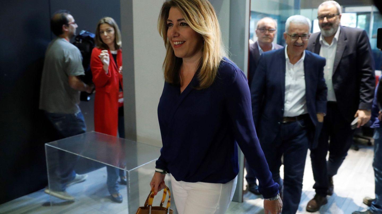 Susana Díaz, entrando en la sede de Ferraz el pasado 28 de mayo, en el comité federal previo a la moción de censura que ganó Pedro Sánchez. (EFE)