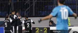 Aunque el Málaga se relajó ante el Zenit, redondea el pase con el liderato de su grupo