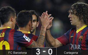 La rodilla de Puyol supera la prueba y aguanta el trámite copero del Barça