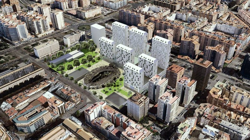 Foto: Figuración de las siete torres de Mestalla (cuya distribución se modificará) y el centro comercial subterráneo abierto.