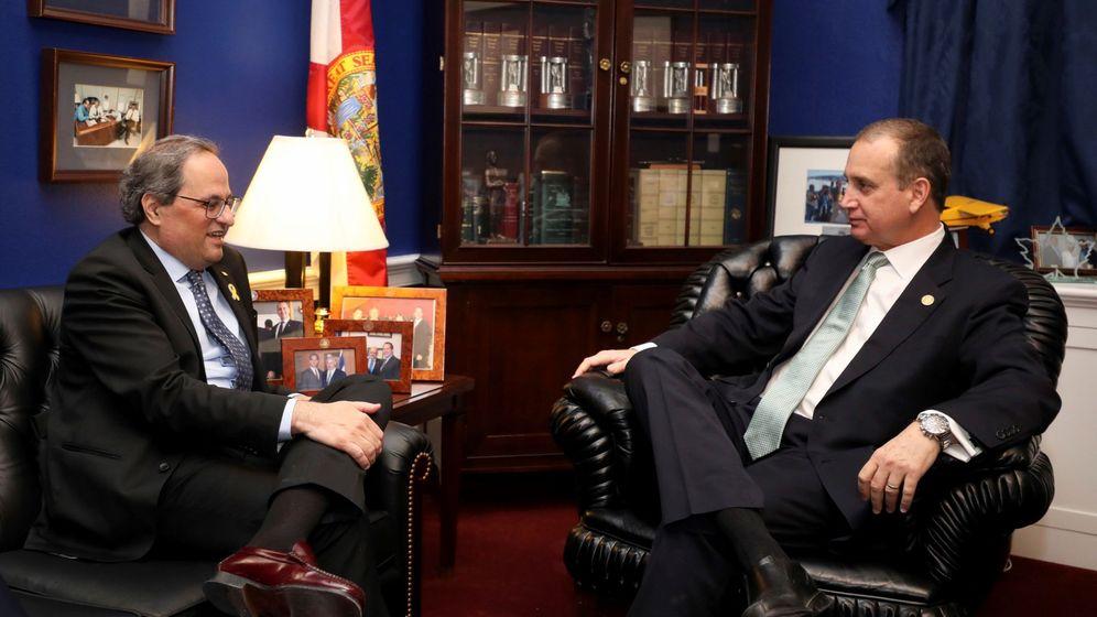Foto: El presidente de la Generalitat, Quim Torra, durante la reunión con el republicano Mario Díaz-Balart. (EFE)