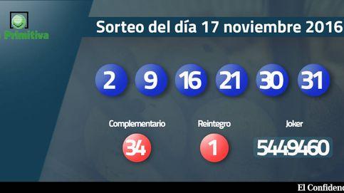 Resultados del sorteo de la Primitiva del 17 noviembre 2016: números 2, 9, 16, 21, 30, 31