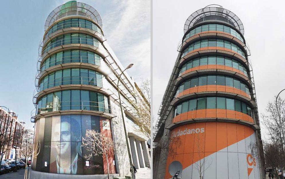 Foto: La nueva imagen de la sede nacional del partido en Ventas ya no incorpora fotografías de Albert Rivera. (EC)