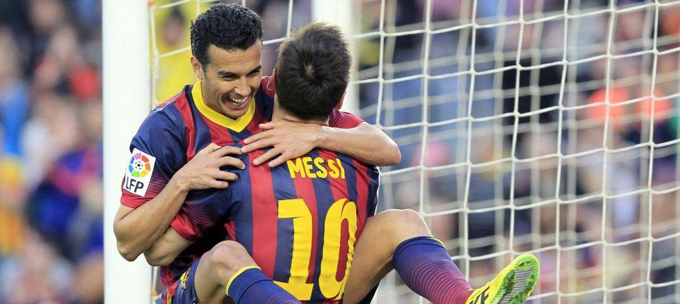 Foto: Pedro celebra junto a Messi un gol en la presente temporada.