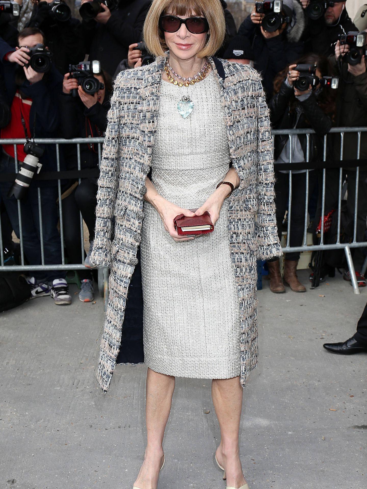 Anna Wintour a su llegada al desfile de Chanel. (Getty)
