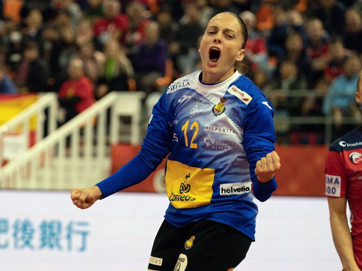 Foto: Silvia Navarro celebra una parada en la semifinal del Campeonato del Mundo contra Noruega. (EFE)