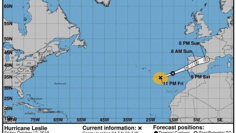 Foto: El ciclón tropical leslie muy probablemente tocará tierra cerca de Lisboa. (EFE)