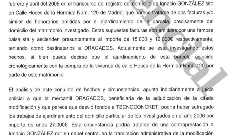 Parte del informe de la UCO sobre González