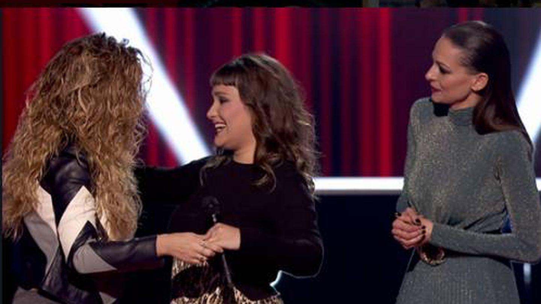 Miriam Rodríguez, reconoce a Lia Kali en 'La Voz'. (Antena 3)