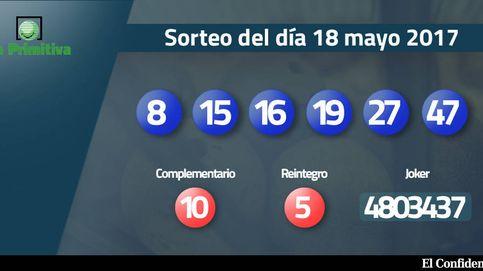 Combinación ganadora de la Primitiva del 18 mayo: números 8, 15, 16, 19, 27, 47