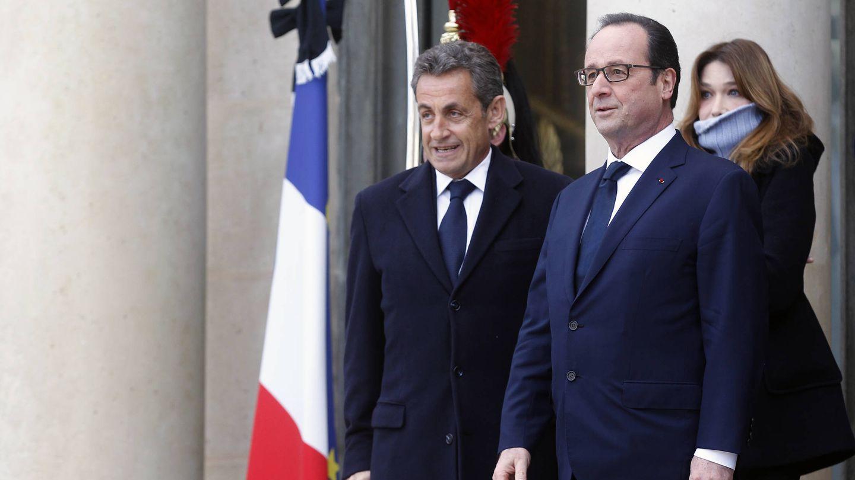 Nicolas Sarkozy, François Hollande y Carla Bruni. (Getty)