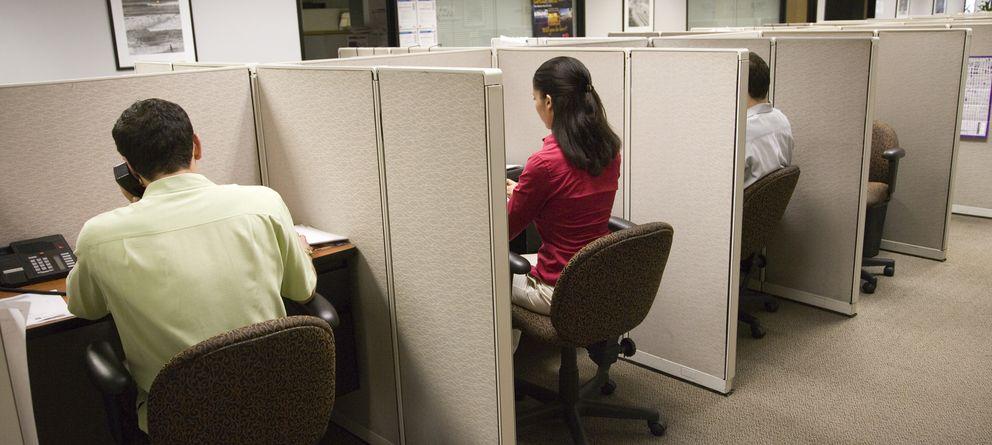 Foto: Trabajadores en un 'call center'. (Corbis)