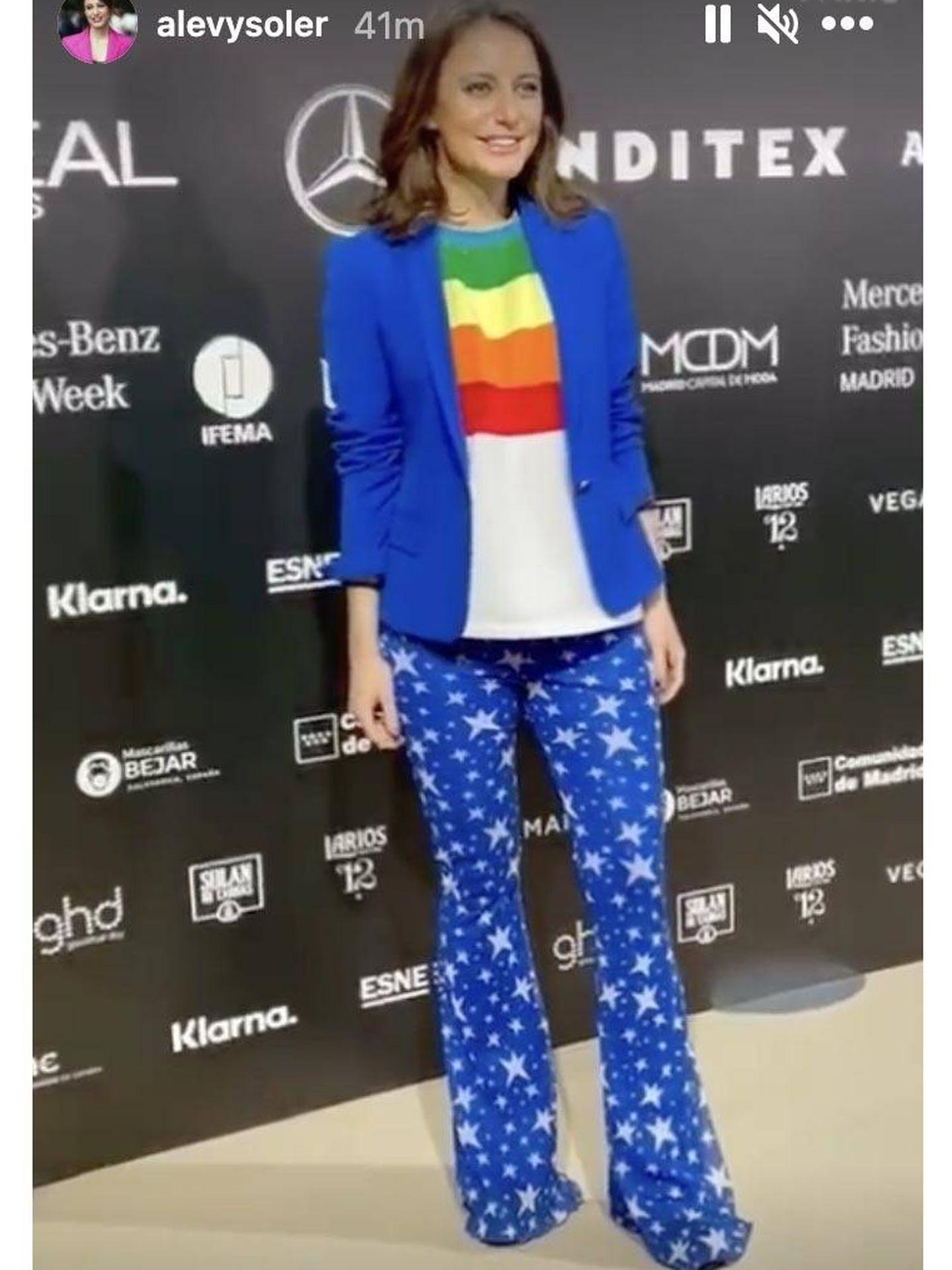 Andrea Levy vestida de Agatha Ruíz de la Prada en la Semana de la Moda de Madrid. (Instagram @alevysoler)