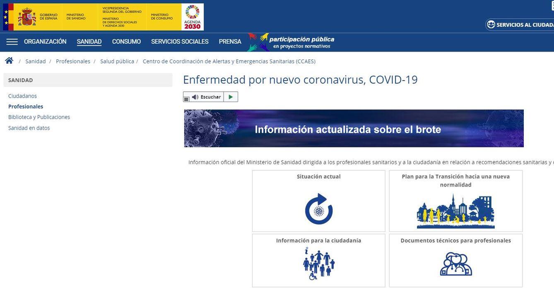 Imagen de la web principal del ministerio de Sanidad
