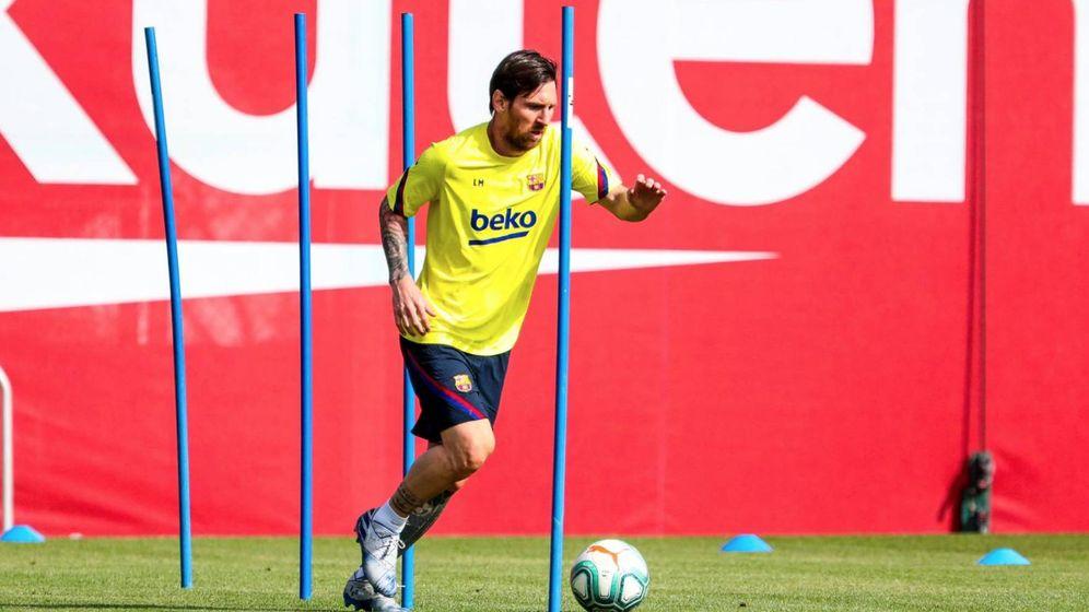 Foto: Leo Messi en el primer entrenamiento individual tras pasar los test