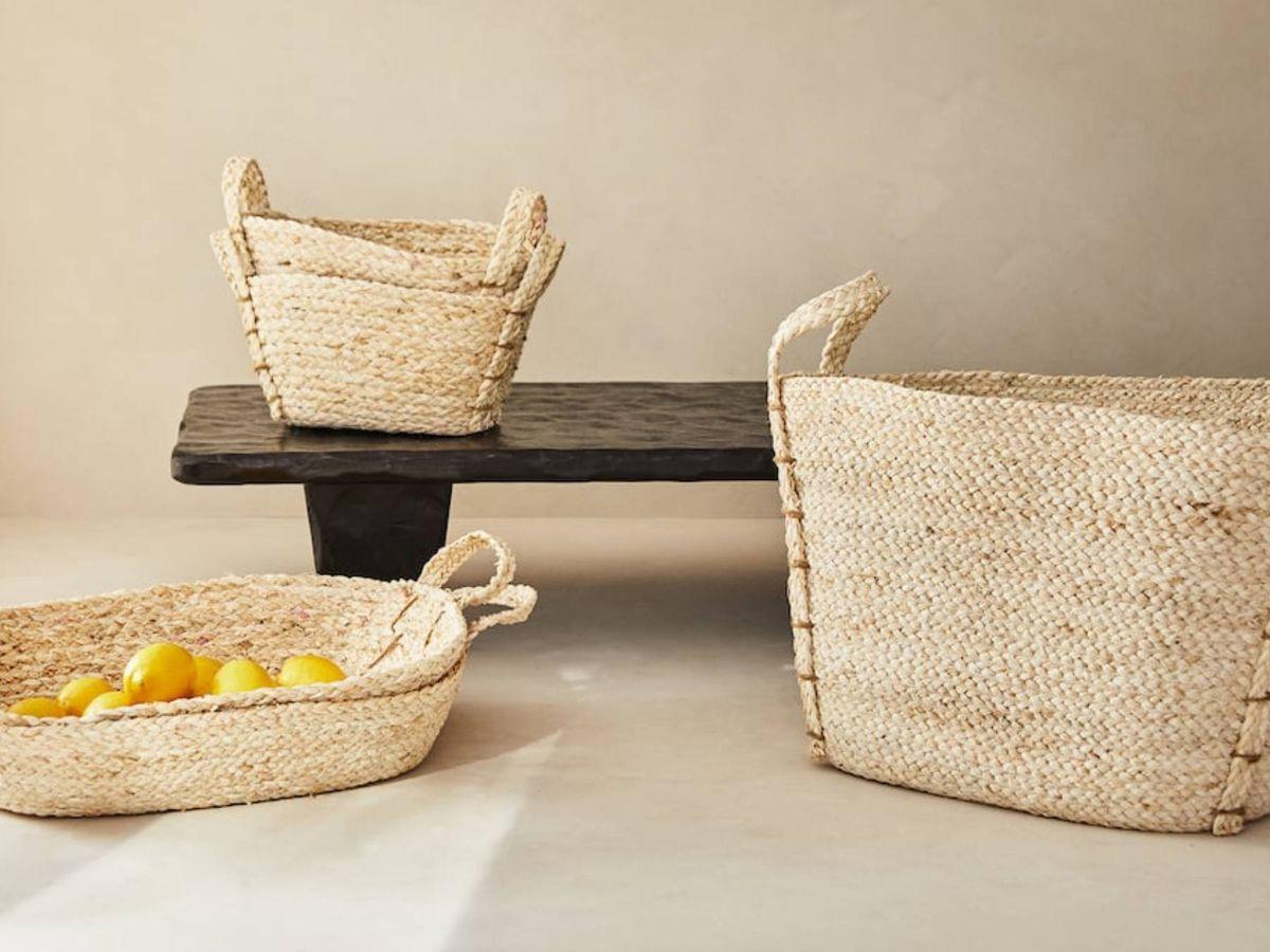 Foto: Decora con estas cestas trenzadas de Zara Home. (Cortesía)