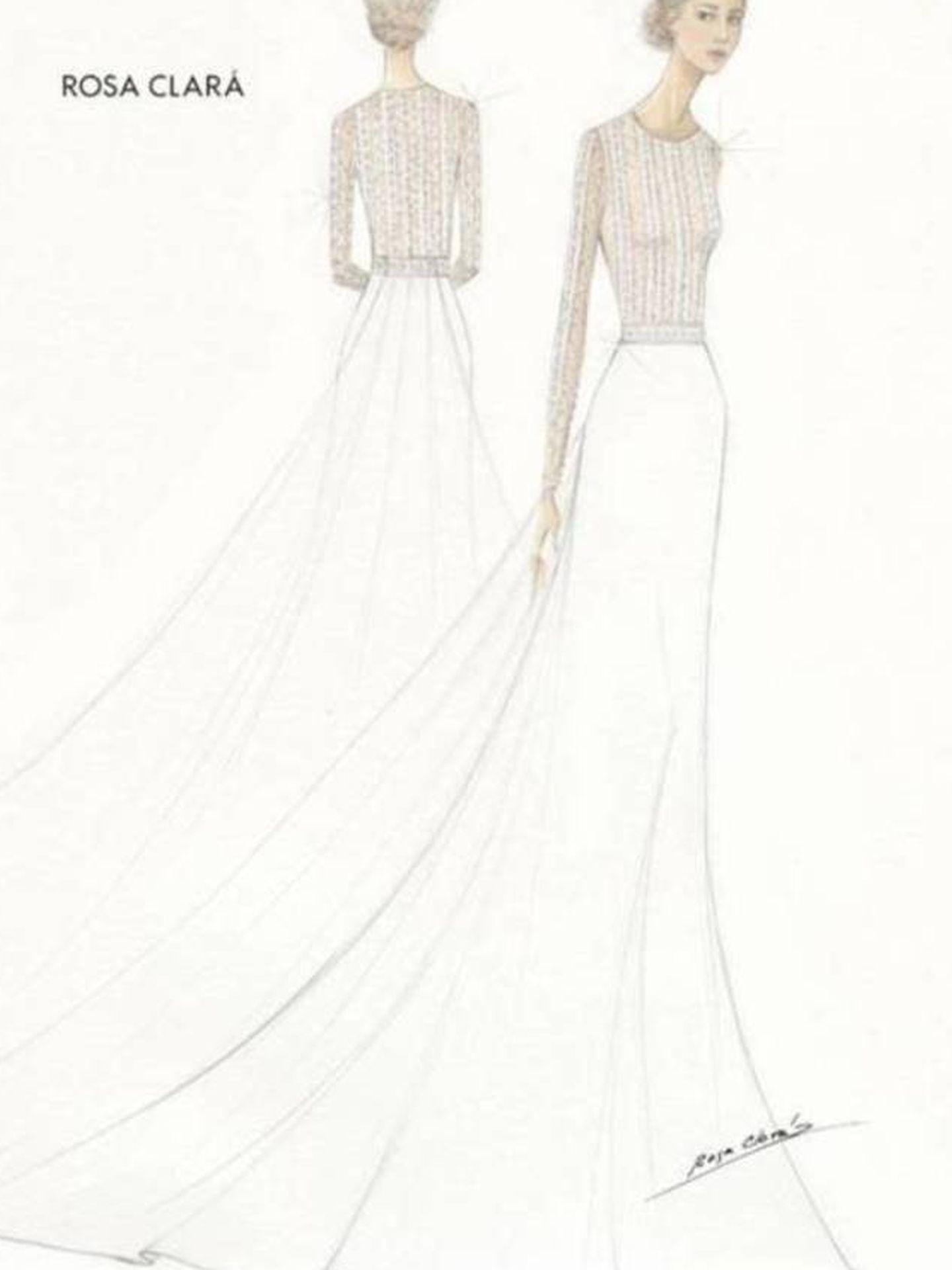 Boceto del primer vestido de novia de Xisca Perelló. (Rosa Clará)