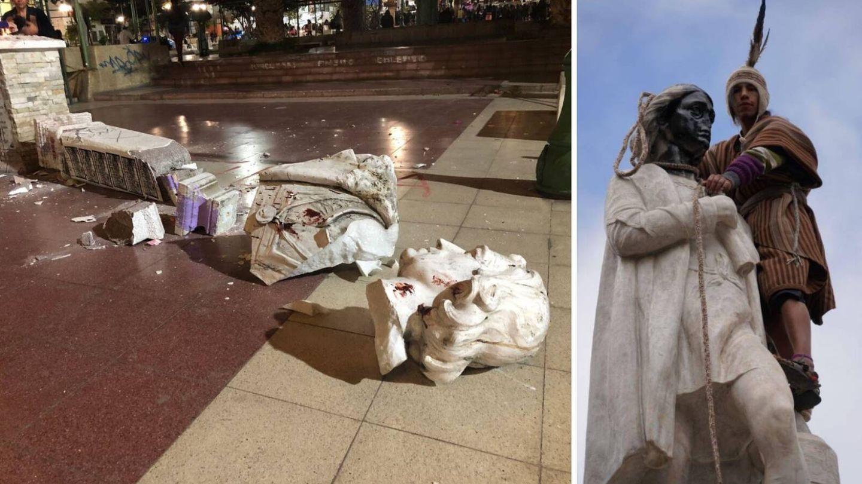 A la izquierda, la estatua de Colón de Arica (Chile) destrozada; a la derecha, la del paseo del Prado de La Paz (Bolivia), pintada, sin nariz y con una soga al cuello