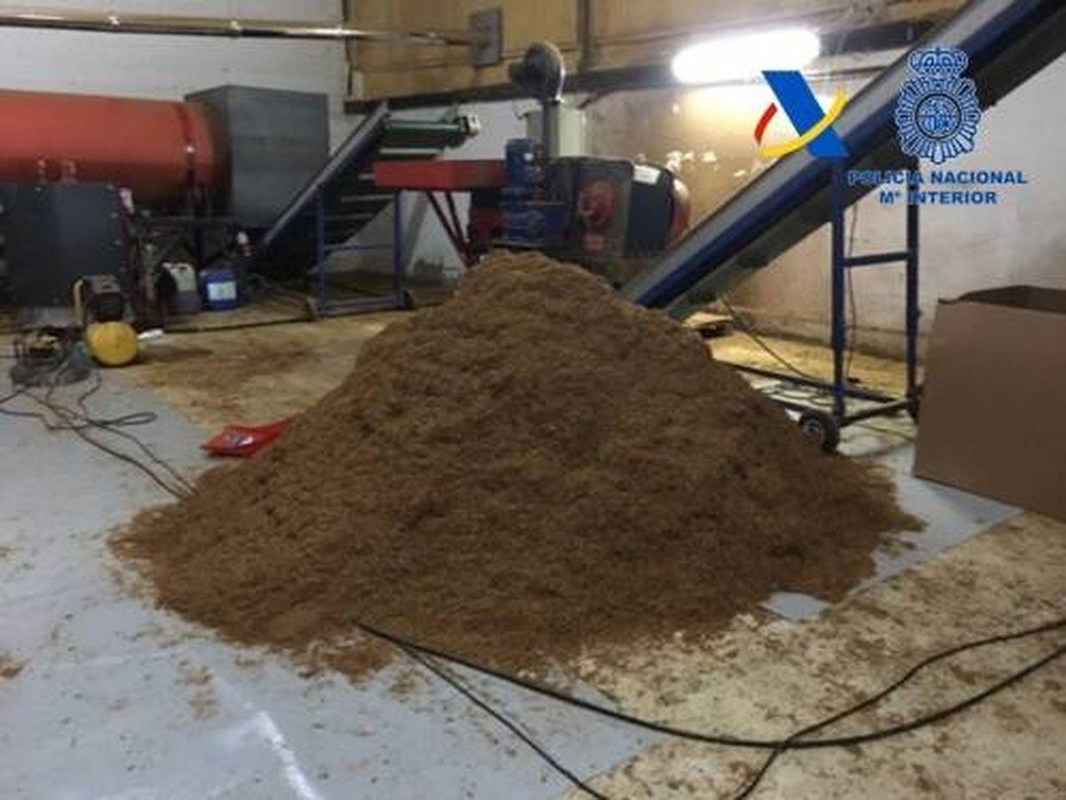 Foto: Imagen de archivo de otra planta de producción de tabaco ilegal desmantelada en Sevilla. (Policía Nacional)