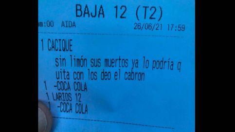 Cacique sin limón: sus muertos...: el tique de un bar de Cádiz que se ha hecho viral