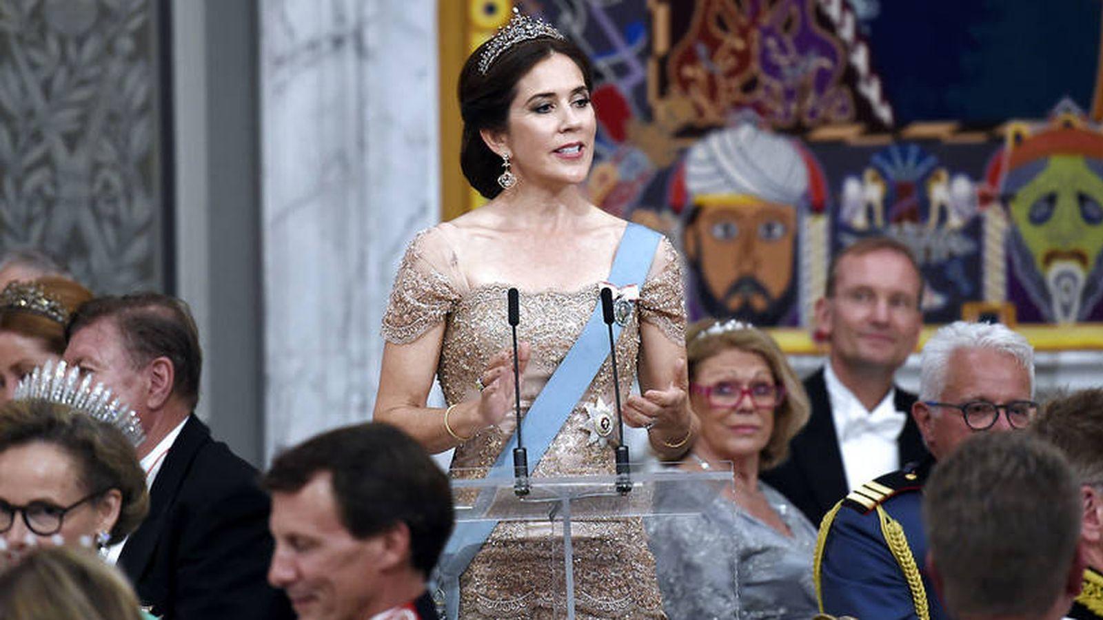 Foto: La princesa Mary de Dinamarca durante el discurso. (Kongehuset)