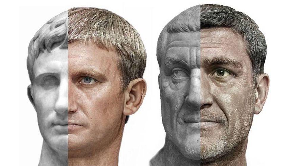 Foto: Reconstrucción de los emperadores Augusto y Maximino el Tracio. (Voshart)