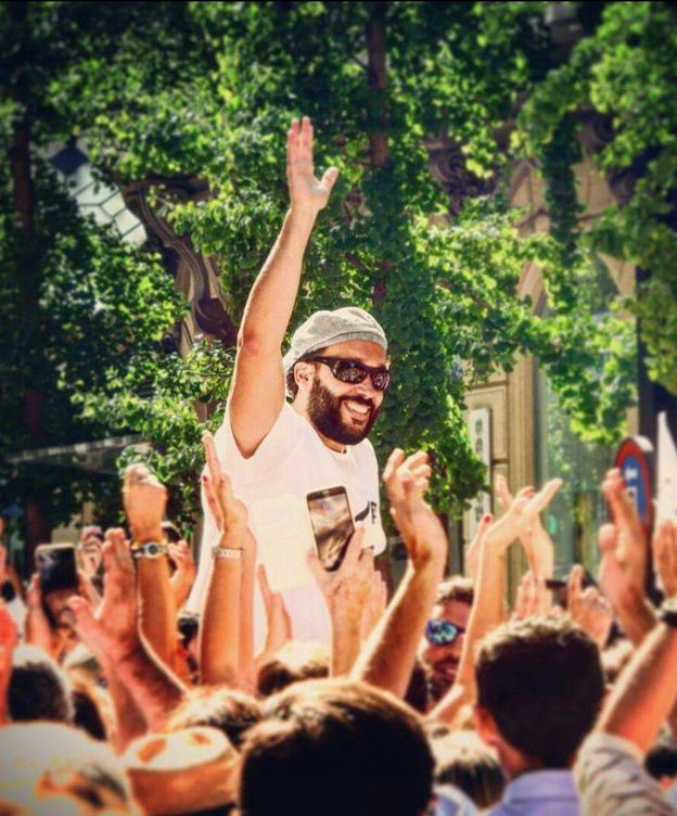 Foto: Jesús Candel, Spiriman, durante la manifestación en Granada el pasado domingo.