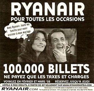 Ryanair se niega a pagar 500.000 euros a Carla Bruni