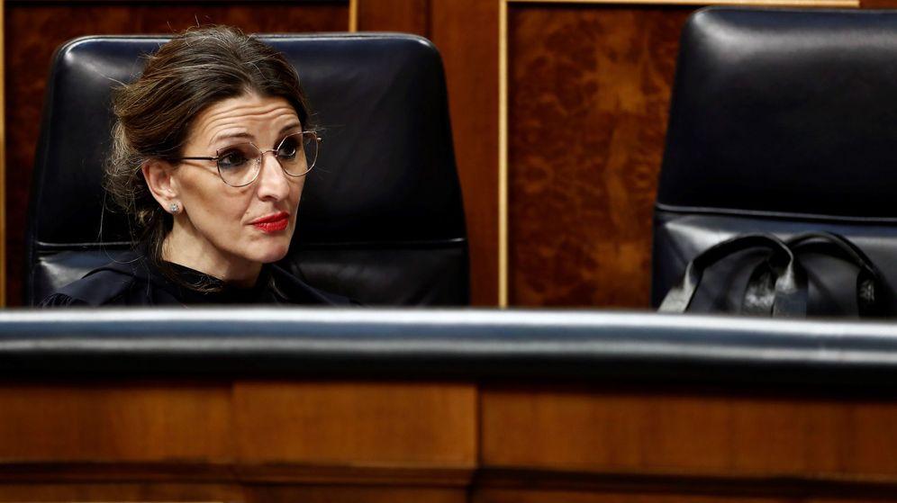 Foto: La ministra de Trabajo, Yolanda Díaz, durante el pleno celebrado este miércoles en el Congreso de los Diputados en Madrid. (EFE)