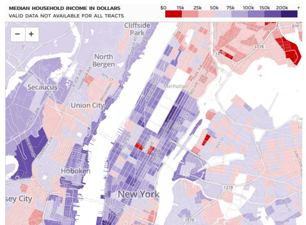 Mapa que muestra los ingresos medios por familia (J. Keefe / S. Melendez)