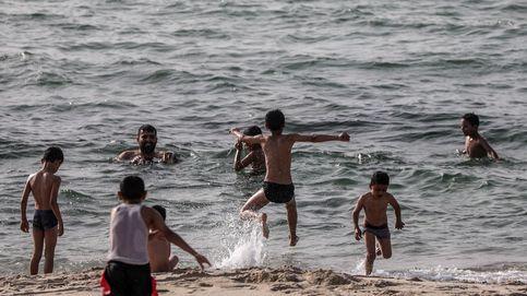 Refugiados en el campo de Jan Yunis, Gaza