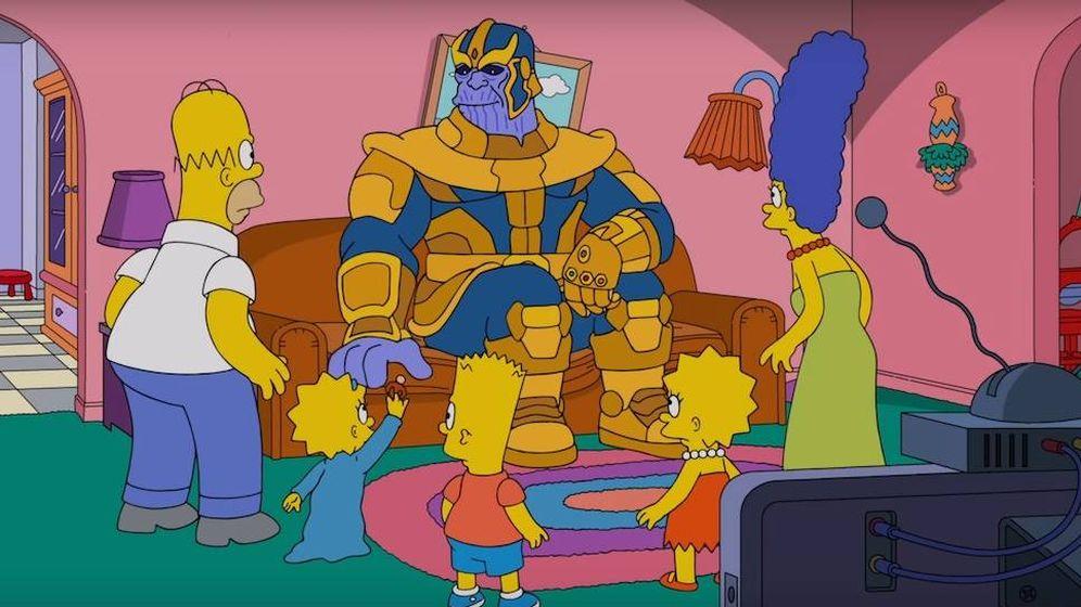 Foto: Imagen de la visita de Thanos en 'Los Simpson'. (Fox)
