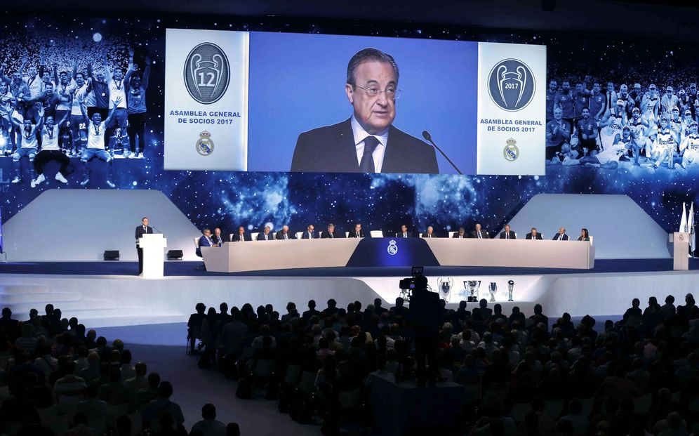Foto: Florentino Pérez, durante la Asamblea General Ordinaria del Real Madrid. (EFE)
