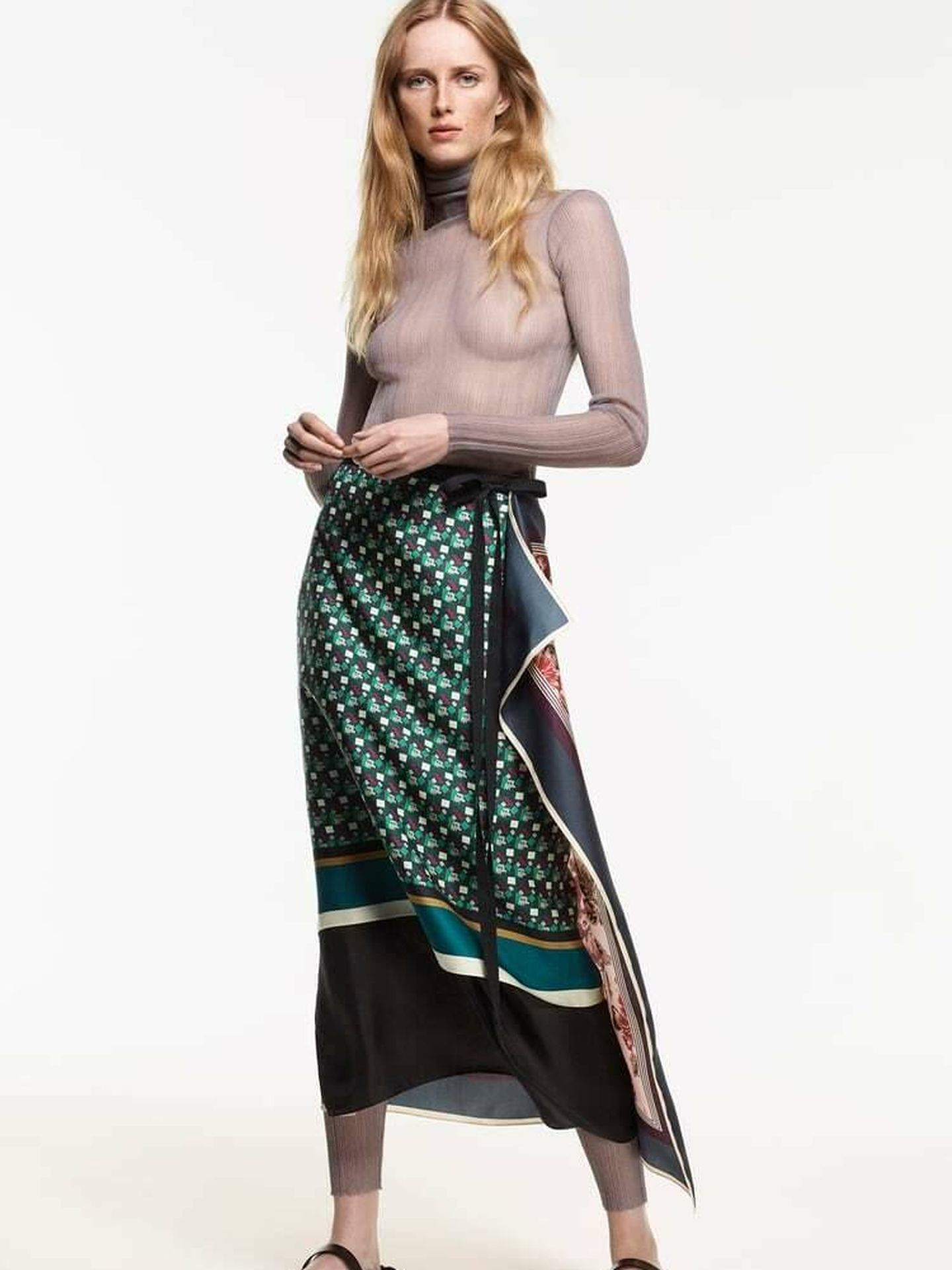 La nueva falda de Zara de la colección Scarf Collection Limited Edition. (Cortesía)