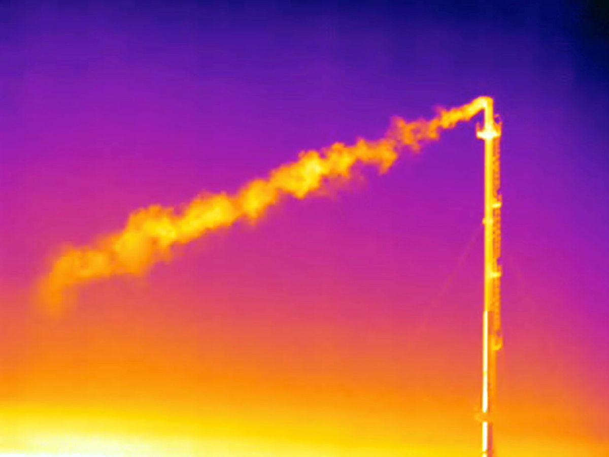 Foto: Imagen térmica de la liberación de metano a la atmósfera. Foto: Reuters