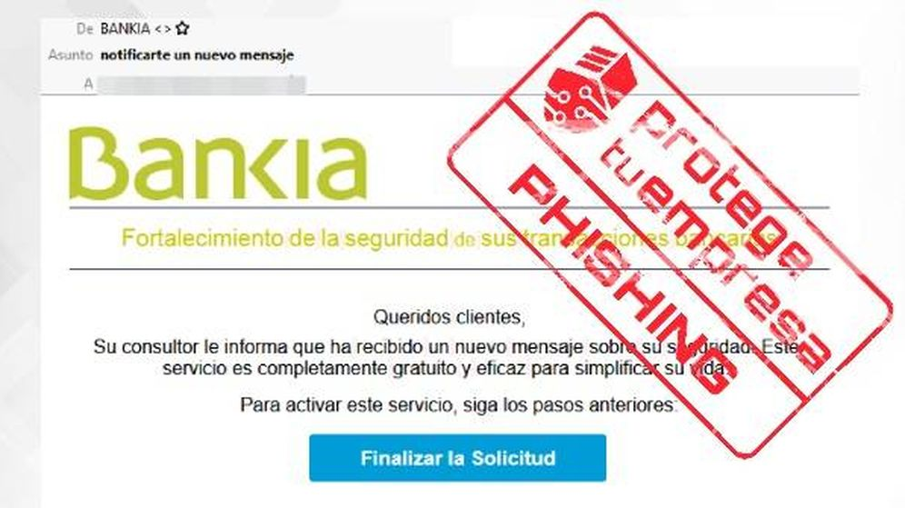 Foto: Así es el correo suplantando a Bankia que denuncia Incibe. (Incibe)