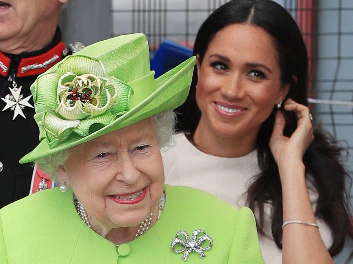 Foto:  Meghan y la reina Isabel II. (Getty)