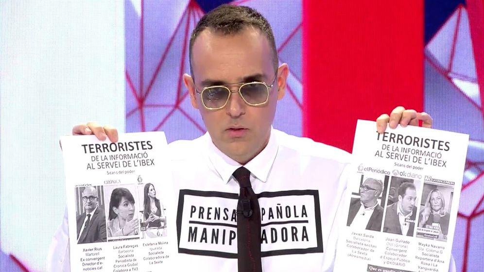 Foto: El presentador Risto Mejide, en 'Todo es mentira'. (Mediaset)