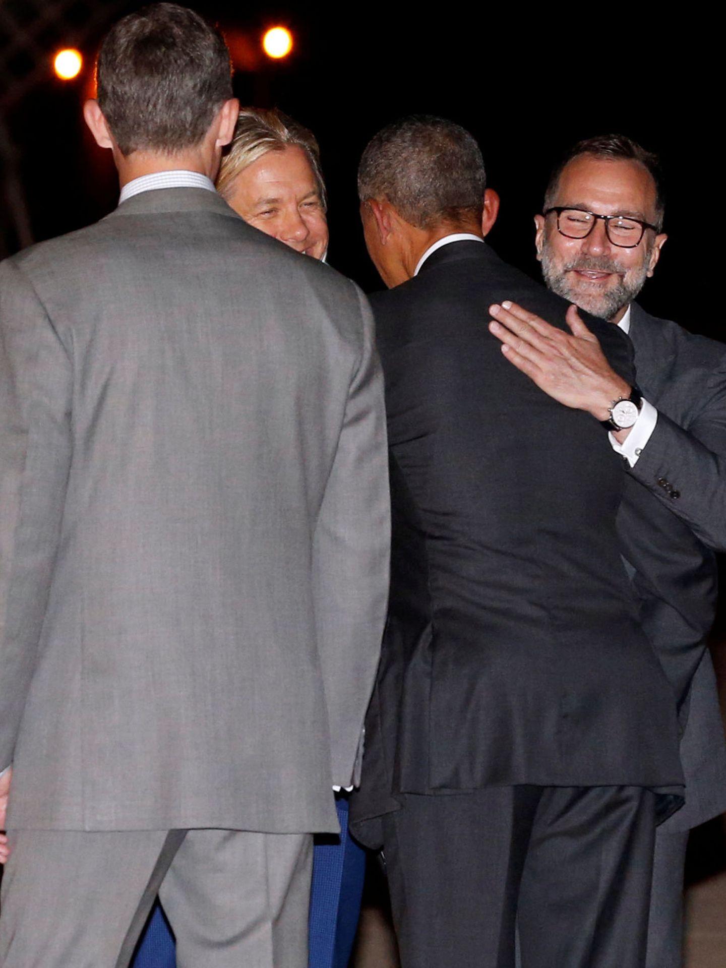 James Costos y Michael Smith con Barack Obama y Felipe VI en Madrid, en 2016. (Reuters)
