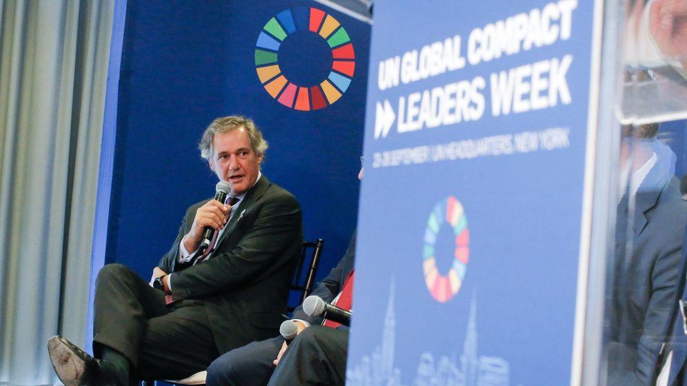 Foto: El presidente de Acciona, José Manuel Entrecanales, en un acto en la sede de la ONU en Nueva York. (EFE)
