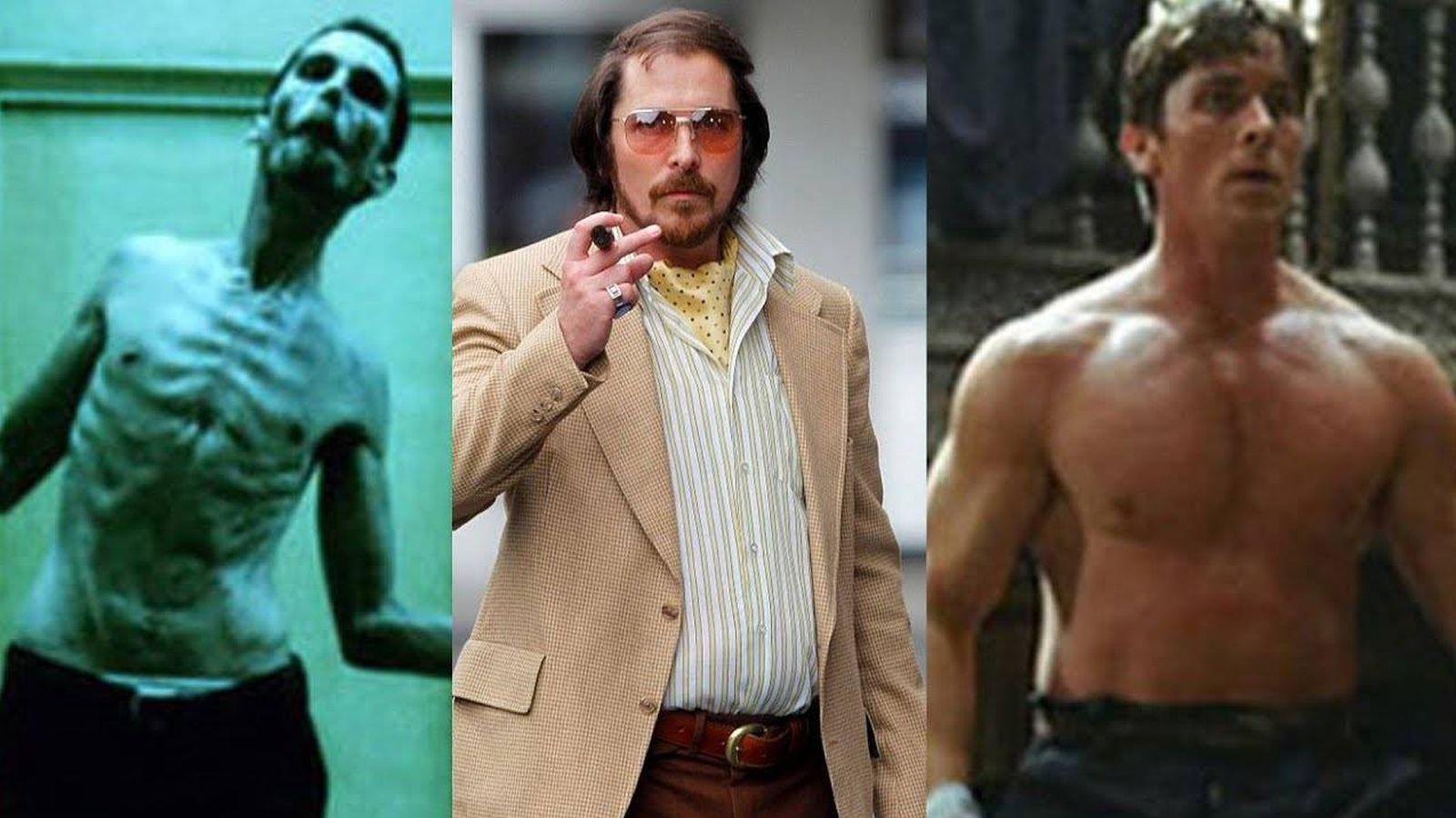 Foto: El actor Christian Bale en tres de sus grandes metamorfosis físicas.