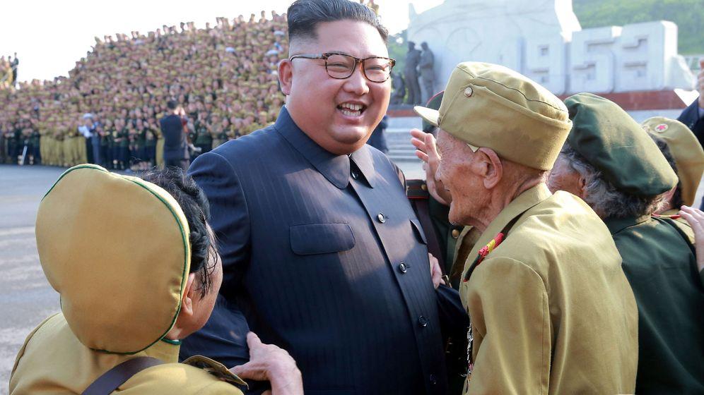 Foto: El líder norcoreano Kim Jong-un durante un acto con veteranos de guerra a finales de julio. (Reuters)